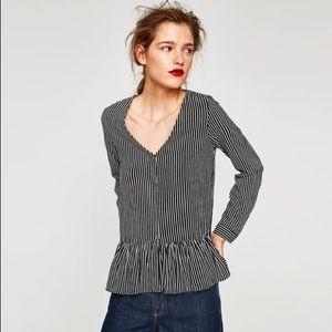 Zara Ruffled V-Neck Top